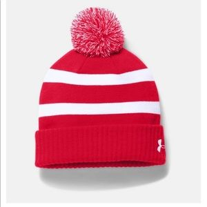 Woman Under Armour Pom Beanie- Red new without tag